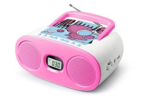 Motive Cd (Muse M-23 KDG CD-Radio für Kinder (CD / MP3, USB, AUX-In, LCD-Display, Teleskopantenne, Netz- oder Batteriebetrieb), Rosa / Weiß mit Comic-Motiv)