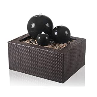 Primrose Ceramic Triple Sphere LED Water Feature with Rattan Surround 3