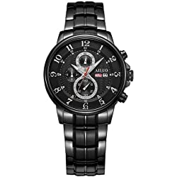 Ailuo 5104 50 m Wasserdicht Fashion Business Herren Armbanduhr mit Stainless Steel Strap & Dual Calendar Luminous Display & Multi-Function Three Dial & Arabic Number Scale (Black)