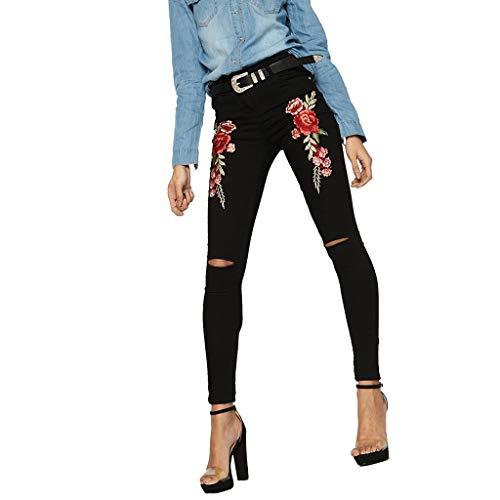 Patifia Damen Jeanshosen, Mode Damen Printed Stickerei Denim Slim Jean Enge Hose Bein Stretched Hosen Loch Jeanshosen mit Bleistift Rose Stickerei Klassisch Hose