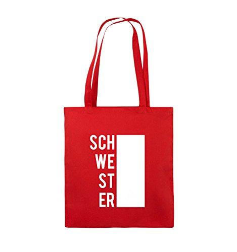 Comedy Bags - SCHWESTER - BLOCK - Jutebeutel - lange Henkel - 38x42cm - Farbe: Schwarz / Silber Rot / Weiss