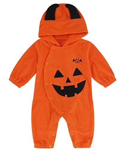 Mombebe Halloween Kürbis Baby Jungen Mädchen Cosplay Strampler mit Kapuze Overall (0-6 Monate, Kürbis)