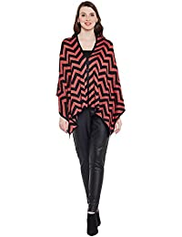 Natty India Black and Red Woollen Women's Poncho (ST99104)
