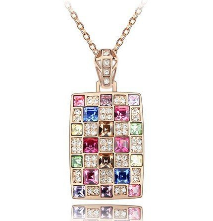 18ct oro placcato la collana di lusso con cristalli swarovski promozionale sconto
