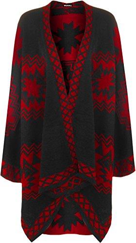 WearAll - Femmes Aztec Imprimer Tricoté Draper Cascade Cap Veste Châle Haut Poncho - Jackets - Femmes - Tailles 36-58 Rouge