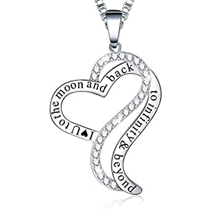 Ado Glo Mother's Day Present I Love You to The Moon and Back Infinity Beyond Heart Pendant Necklace, Fashion Jewelry for Women Girls, Birthday Anniversary Wedding Gift for Girlfriend Wife Sister Mom
