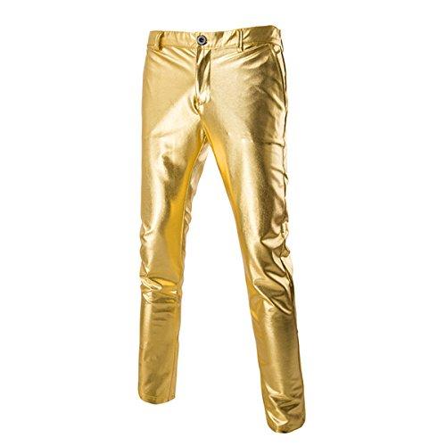 Cusfull Anzug Hosen Metallisch Glänzend Hosenanzug Herren Gold Hose Glitzer Slim Fit Kostüm für Nightclub Party Tanzen Disco Cosplay (L)