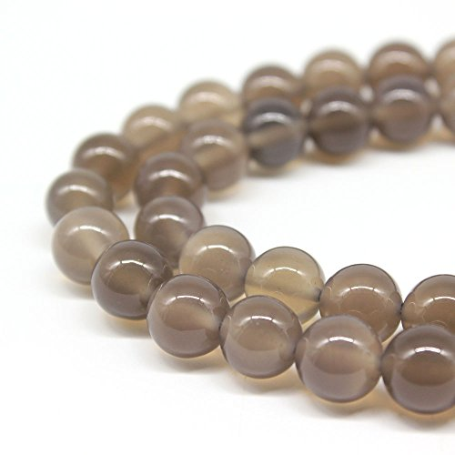 Jartc Naturel rond Gris agate Perles pour DIY Bijoux Bracelet Collier 38,1 cm, gris, 8mm