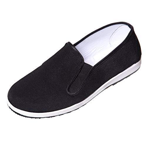 DoGeek Kung Fu Taichi Schuhe Chinesische Traditionelle Peking-Stil Schuhe Slipper für Damen und Herren Schwarz,44EU (Bitte bestellen Sie eine Nummer grösser)