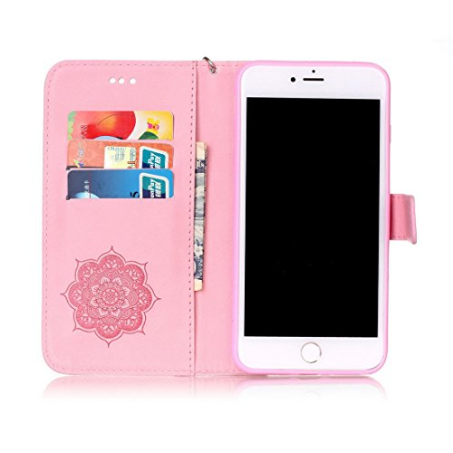 iPhone 7Plus custodia a portafoglio, Ledowp Apple iPhone 7Plus Bling Luxury Crystal Diamante in pelle PU a portafoglio, custodia full body campanula modello design custodia magnetica staccabile slot Pink