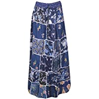 Women Patchwork Maxi Skirt Blue Vintage Printed Rayon Dori Skirts S/M