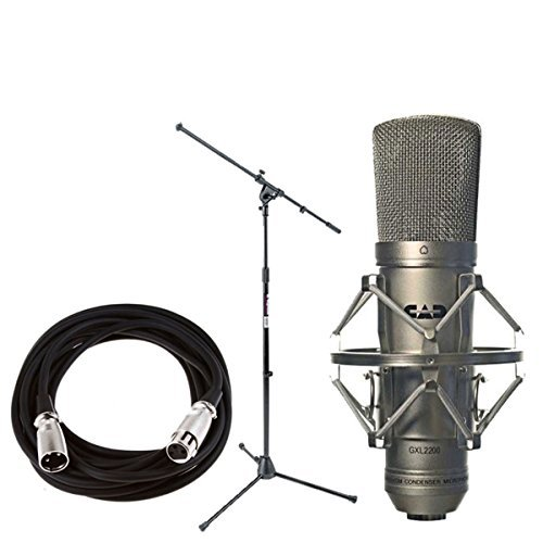 CAD GXL2200 Cardioid Condenser Microphone with On Stage MS7701B Euro Boom Microphone Stand+ 20 foot XLR Mic Cable  available at amazon for Rs.17450