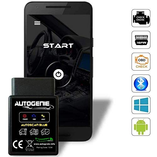 Autogenie ECHTZEIT-Daten am Handy Bluetooth OBD2 KFZ-Diagnosegerät Torque Android Windows Smartphone Auto PKW KFZ Lesegerät OBDII Adapter Diagnose-Tool CAN BUS Interface