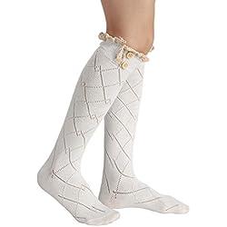 Avidlove Calcetines medias de piernas con detalle de crochet y botones para invierno de mujer