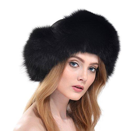 Ollebobo vera pelliccia volpe cappello donna ushanka colbacco elegante comodo nero