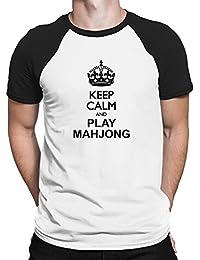 Teeburon Keep calm and play Mahjong Maglietta Raglan