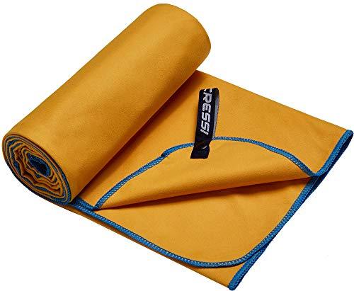 Cressi Microfibre Fast Drying Playa Toalla Sport, Adultos Unisex, Amarillo/Azul Claro, 90x180