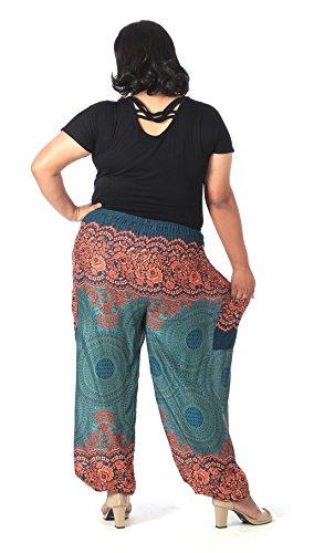 CandyHusky -  Pantaloni  - Donna Floral Mandala Green