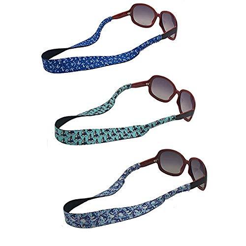Auony Sonnenbrillenband, 3 Stück, weiches Neopren, schwimmende Brillenhalterung, sichere Passform für Ihre Brille und Brillen