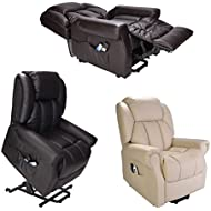 Hainworth Leather Dual Motor riser recliner chair with heat and massage - brown