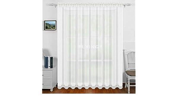 Poliestere Happy Home Store Milena Tenda Trasparente in Bianco Bianco B//H: 300 x 245 cm