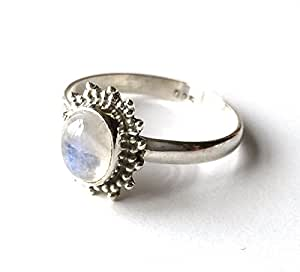 Shanya Sterling Silver Ethnic Ring Rainbow Moonstone, made of Solid Silver and genuine Rainbow Moonstone, each ring is individually handcrafted. The stone size is 5 X 8 mm. Design ORCRM. UK Size W