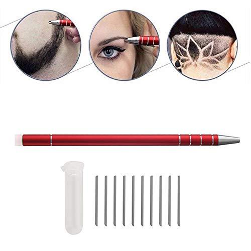 1 Pack Haar Tattoo Razor Pen Set Rasierstift Tool für Haar Edelstahl Salon Graviert Stift Styling Augenbrauen Bart Gestaltung Gerät Set Mit 10 Klingen + 1 Pinzette (Red)
