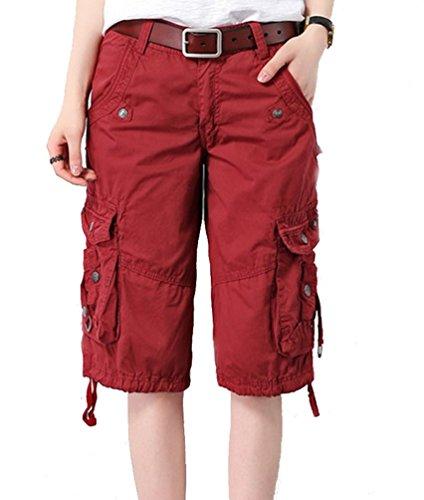 Ghope Damen 3 4Hose Designer Chino Cargo Shorts Capri Bermuda kurze  Stoffhose Jeanshose Reißverschluss Cargo 6 Farbe Taille W28W38 wein rot 3d6acd2384