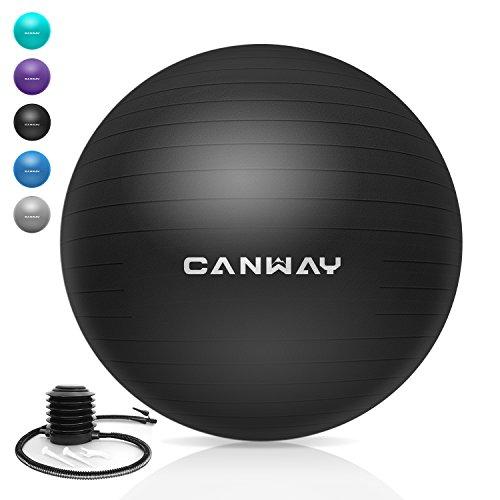 CANWAY Gymnastikball Gymnastic Ball Pezziball Gymnastikbälle Rutschfest mit Luftpumpe Maximalbelastbarkeit bis zu 700kg in den Größen 65cm (Schwarz)