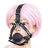 Amosfun 1PC silicone bocca bavaglio bavaglio cappuccio maschera con cinturino regolabile per uomo donna - taglia M (nero)