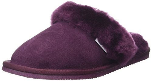 SNUGRUGS Mule With Sheepskin Cuff And Rubber Sole, Chaussons femme Violet - Purple (Plum)