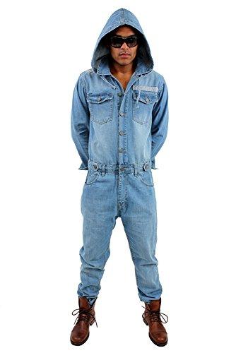 Brooklyn Mint Ein Teil Denim Overall Einteiler Jeans Latzhose - Blau Stone Wash, L = W34/36