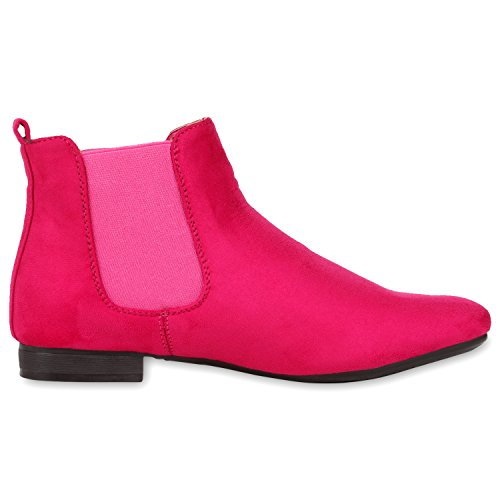 Damen Stiefeletten Flache Chelsea Boots Lederoptik Schuhe Gr. 36-41 Pink Velour