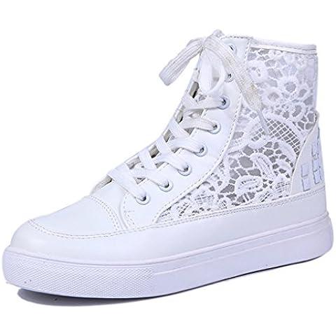 Minetom Mujer Chicas Plataforma Zapatos Moda Cordón-Arriba Respirable Zapatos Deportivos