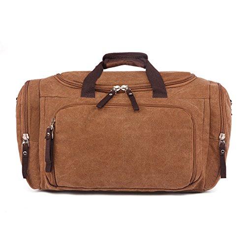 Etasche Reisetsache Sporttasche Weekender Tasche Handgepäck aus Canvas Segeltuch Vintage 53 x 27 x 30 cm (Khaki) Kaffee