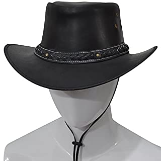 AQWA New Classic Western Cowboy Hat Bush Cow Leather Cow Boy Hat Band With Chinstrap (Black, Large)