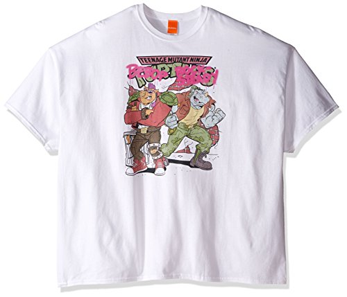 Turtles Nickelodeon Herren T-Shirt Big and Tall 80er Jahre Bebop and Rock-Steady - Weiß - 3X-Groß ()