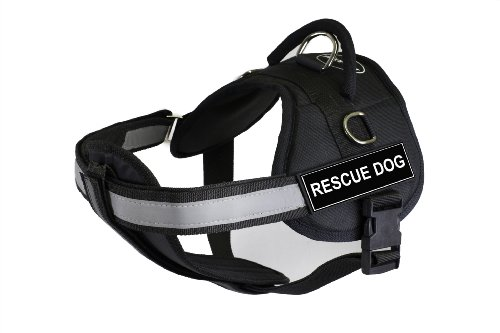 DT Works Harness with Padded Reflective Chest Straps, Rescue Dog, Black, Large - Fits Girth Size: 86cm to 119cm