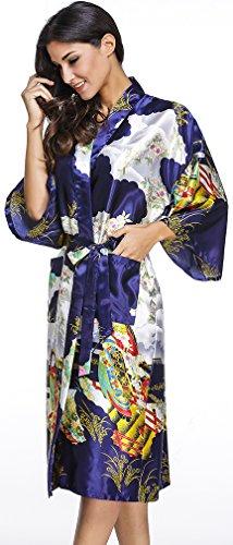FLYCHEN Damen langer Bademantel mit Schönheiten Pattern Satin Kimono Robe Nachtwäsche Dunkel Blau-2