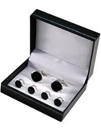 Manschettenknöpfe und 4 Frackknöpfe im Set, Rhodium veredelt (silberfarben), Einlagen aus Onyx, inkl. Geschenketui
