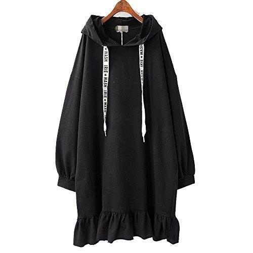 erbst und Winter Pullover bauschige Volants Hahnenfuß-rock Wind lose Large Cap Kit und Pullover Kleider, Code, Schwarz (Hässliche Pullover-kit)