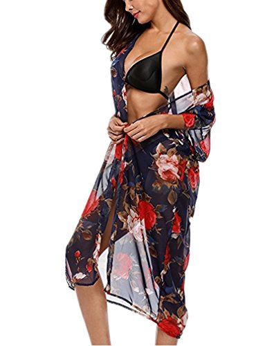 PassMe Copricostume da Bagno Donna in Chiffon Floreale Stampato Kimono Cardigan Camicetta Lunga Maniche 3/4 Pipistrello Abito da Mare Spiaggia Cover Up Casuale Allentato