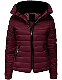 Womens Ladies Quilted Padded Coat Bubble Puffer Jacket Fur Collar Hooded Thick [Wine, UK XL]