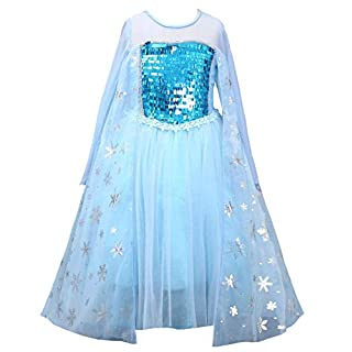 About Time Co Girls' Princess Snow Queen Cape Back Fancy Dress (4-5 years)