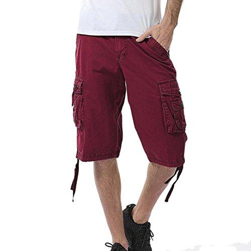 (͡° ͜ʖ ͡°) LMMVP Hommes Occasionnels Couleur Pure à l'extérieur de la Poche de Travail de Plage Pantalons Shorts Cargo
