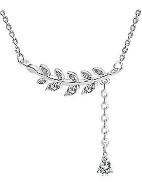 925Sterling Silber Leaf Halskette Olive Branch Anhänger, verstellbar Ring: antiallergenes