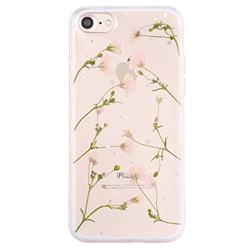 Preisvergleich Produktbild MoreChioce iPhone 8 Hülle,3D Silikon Handyhülle für iPhone 7, Kreativ 3D Herz Durchsichtig Bling Glitzer Weich TPU Hybrid Stoßfest Kratzfeste Silikonhülle für iPhone 7 / 6s,Rosa Trockenblumen