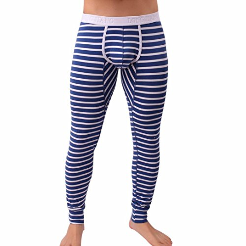 Herren Hosen, LHWY Mens Striped atmen Patchwork Low Rise Leggings lange Unterhosen thermische Baumwolle Hosen warme Leggings Bannfarbe Streifen (XL, Blau)