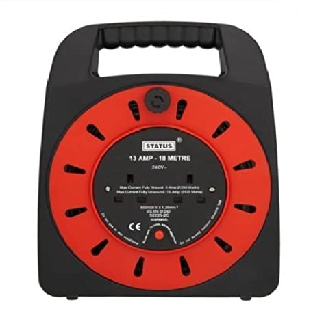 Status 18 m 13 A 2 Socket Outlet Cable Reel - Red
