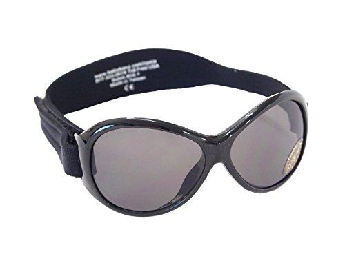 Baby Banz 00064 Sonnenbrille Retro Kidz mit elastischem Neoprenband, für Kopfumfang 40-52 cm (circa bis 2 jahre), UV400, schwarz